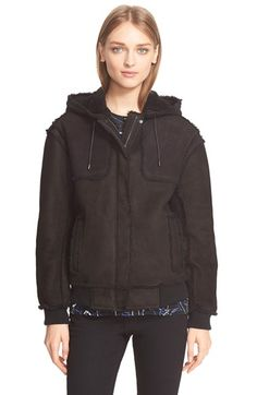 Proenza Schouler Genuine Shearling Bomber Hooded Jacket available at #Nordstrom