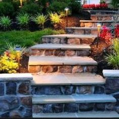 Outdoor stairs - we could do these with a brick face instead of the stone
