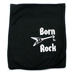 CrazyBabyClothing Born To Rock Baby Receiving Blanket Cra...