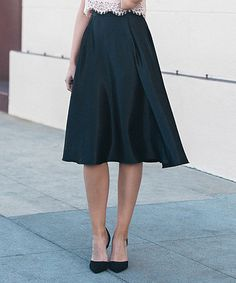 Look what I found on #zulily! Black Silk Midi Skirt #zulilyfinds
