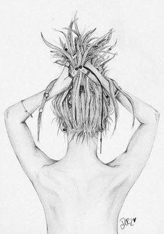 What beautiful art! Rasta Tattoo, Art Sketches, Art Drawings, Tattoo Drawings, Dreadlocks Girl, Locs, Rasta Art, Back Drawing, Girl Sketch