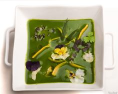 Cream of dandelion soup with herbs and spring flowers