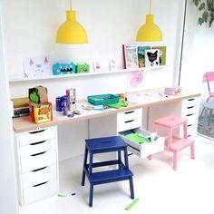 Ikea kids desk hack with cute pastel colors More Ikea Kids Desk, Kids Workspace, Kid Desk, Homework Desk, Ikea Kids Room, Study Desk Ikea, Ikea Hack Desk, Kids Homework Station, White Kids Room