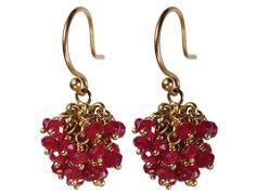 18K Gold All Ruby Bead Ball Earrings