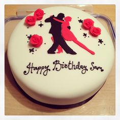 Tango dancing cake with silhouette and roses Happy Birthday Sam, 16th Birthday, Birthday Cake, Grease Party, Diva Cakes, Dance Cakes, 40th Cake, Cake & Co, Salsa Dancing