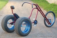 Amazing 3 Wheelers - - Build your own chopper, no experience is needed. Velo Design, Bicycle Design, Trike Bicycle, Motorcycle Bike, Mini Bike, Cool Bicycles, Cool Bikes, Bici Retro, Custom Trikes