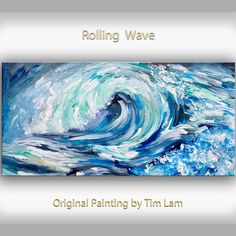 Sea art Wave painting Original abstract oil painting by elseart, $369.00