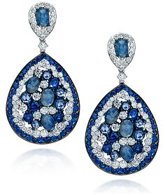 Cellini Jewelers Blue Sapphire & Diamond Earrings with different hued blue sapphires, in 18k white gold