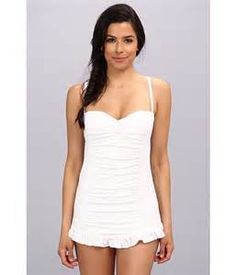 84c055c1acbfb Find the lowest price on the Jantzen - Texture Dot Swim Dress (White)  Jantzen. We offer the best selection of womens swimwear and bikinis online.