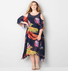 347b9793b85f Find new summer plus size dresses in sizes 14-32 like the Watercolor Cold  Shoulder