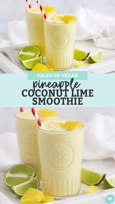 Pineapple Coconut Lime Smoothie - Creamy coconut meets tropical tang in this delicious pineapple lime smoothie recipe! (Paleo or Vegan) // Coconut Lime Smoothie // Pineapple Lime Smoothie // Pineapple Smoothie // Tropcial Smoothie // Paleo Smoothie Smoothie King Recipes, Pinapple Smoothie Recipes, Tropical Smoothie Recipes, Lemon Smoothie, Coconut Milk Smoothie, Fruit Smoothies, Healthy Smoothies, Healthy Drinks, Whole 30 Smoothies