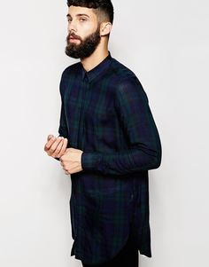 ASOS Super Long Line Shirt With Long Sleeves And Oversized Grid Check