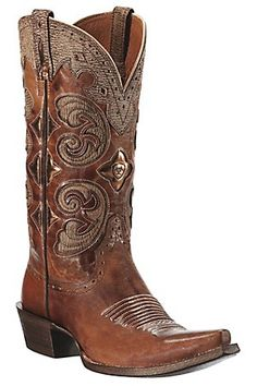 "Ariat ""Amora"" Ladies Shattered Copper Brown w/ Tan Inlay Snip Toe Western Boots <3 via cavenders.com"