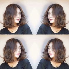 Pin by あやか on ヘアー Short Permed Hair, How To Curl Short Hair, Permed Hairstyles, Medium Hair Styles, Curly Hair Styles, Hair Medium, Short Hair Outfits, Middle Hair, Korean Short Hair