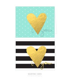 Free Printable Gold Foiled I Love You Cards {free printable}