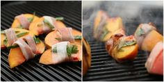 Grilled Prosciutto Wrapped Peaches 3 peaches, cut into wedges 4 oz. prosciutto, cut lengthwise, into thin strips handful of basil leaves, cut into strips Paleo Recipes, Real Food Recipes, Great Recipes, Favorite Recipes, I Love Food, Good Food, Yummy Food, How To Eat Paleo, Food To Make