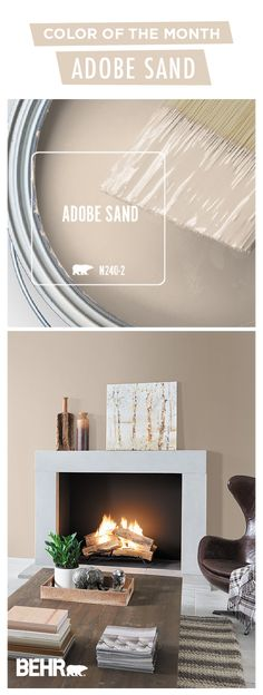 Room Wall Colors, Paint Colors For Living Room, Paint Colors For Home, Bedroom Colors, Color Beige Pared, Beige Paint Colors, Sand Color Paint, Neutral Wall Colors, Behr Colors