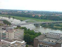 John Frost Bridge  ./ John Frost Bridge is the road bridge over the Lower Rhine at Arnhem, in the Netherlands.