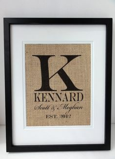 Personalized Burlap MONOGRAM, Name and Est. Date, Gift for Weddings, Engagements, Showers, Announcement. $20.00, via Etsy.