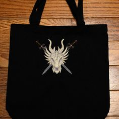 Dragon Skull Embroidered Tote Bag by 21CannonSalute on Etsy