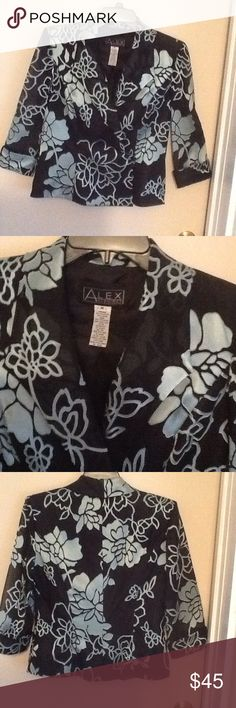 """Cocktail / Evening Wear Top Elegant Black and Silvery Pale Blue Evening Top.  Beautiful black fabric /c Silvery blue floral print.  3/4"""" sleeves. 100% polyester. Worn once. Perfect and clean condition. Completely lined. Very elegant with black skirt or trousers. Alex Evenings Other"""