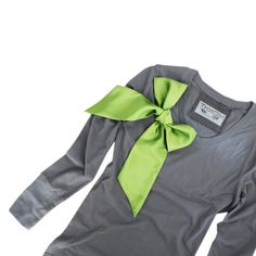 Gray Top Long Sleeve Retro Green Bow By TratGirl S M by tratgirl55, $48.00
