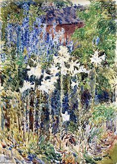 """fleur jardin"", aquarelle de Frederick Childe Hassam (1859-1935, United States)"