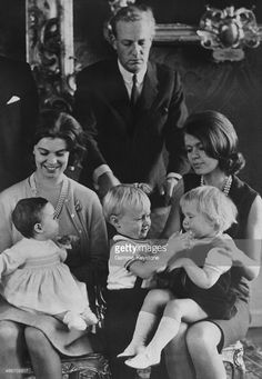 The Swedish Royal family (from left to right: Princess Margaretha and her daughter Princess Sibylla, Prince Johann Georg of Hohenzollern and his wife Princess Birgitta with their children Prince Carl Christian and Princess Desiree) celebrated New Year together at Drottningholm Castle on January 03, 1966 in Drottningholm, Sweden.