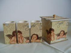 Anielskie świeczniki i pudełko ozdobione techniką Decoupage