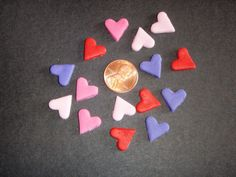 Tiny Edible Fondant Hearts set of 50 for by KonfectionKreations