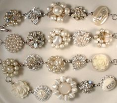 RESERVED 4 Custom Couture Ivory Pearl and Crystal Vintage Cluster Earring Bracelets
