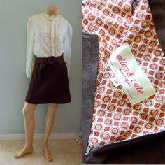 60s mini skirt . brown wool . geometric print . size small - buy it at www.nesteggvintage.etsy.com