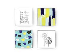 SET of 4 Prints Paint Strokes Print Big Dandelion Gold Foil