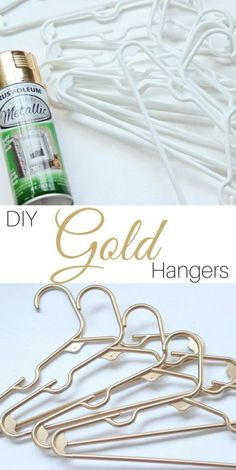 Turn your boring plastic hangers into something spectacular. Use this easy DIY gold plastic hangers tutorial plus these tips for great spray paint coverage. Spray Paint Projects, Diy Spray Paint, Spray Paint Furniture, Metallic Spray Paint, White Spray Paint, Painted Furniture, Pot Mason Diy, Mason Jar Crafts, Gold Diy
