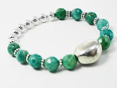 Teal stackable bracelet  gemstone beaded by EclecticElementsForU, $22.95 #gemstone #bracelet #beads #jewelryonetsy