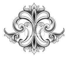 Illustration of Victorian Style Vector Decoration - Engraving vector art, clipart and stock vectors. Motif Baroque, Baroque Decor, Baroque Design, Victorian Art, Victorian Fashion, Baroque Tattoo, Decoupage, Floral Vintage, Tangle Patterns