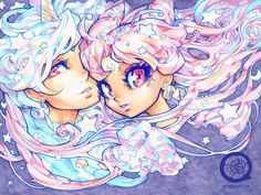 140616 little dream by bara-chan on deviantART Rini and Helios  Her art style is amazing!! Love it! XD