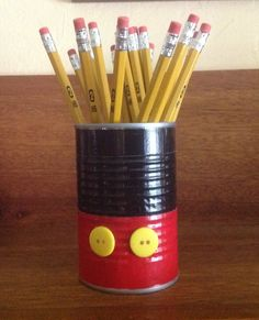 Pencil holder, made with a can and Duct Tape:):):)