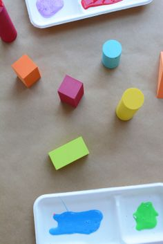 Shape Painting - a great idea that encorporates art with fine motor, geometry, color identification, shape identification.