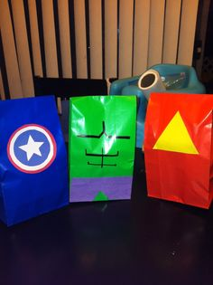 avengers birthday party | Avengers party bags : Iron Man, The Hulk and Captain America