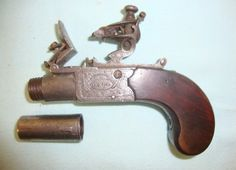 A 1770s Ladies Flintlock 'Muff' Pistol by Durs Egg, London. Most of 'true' muff pistols load through a detachable barrel. Unscrew the barrel from the frame, insert 7-15 grains of black powder into the chamber behind the threads, and place a slightly over sized ball without patch over the powder before carefully rescrewing the barrel. If powder residue was left on the threads, it could ignite when reattaching the barrel and literally cause these little guys to go off in your hand.