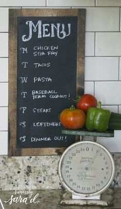 DIY Chalkboard Dinner Menu Planner
