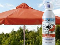 Waterproof and colorize your old sun-faded patio umbrella with Outdoor Fabric Spray Paint by Simply Spray! Nine colors available on FabricSprayPaint.com.