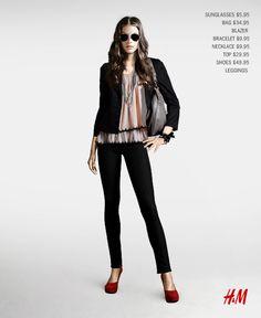 love the pop of color beneath the black (made using H&M's fashion studio www.hm.com)
