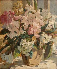 Study of pink flowers, Dorothea Sharp.