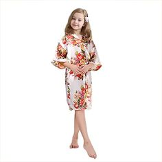 """FCTREE Girls' Satin Kimono Robe Girls' Nightgown For Spa Party Wedding Birthday:   Material:stainbr Style:Kimono robe with sash tie closure,belt loopsbr Pattern:Flower Color Designbr Gender:Girlsbr Dry clean or machine wash cold, gentle cycle, tumble dry low.brbr Not standard US sizes. Check our size chart on the left pictures (**DO NOT refer to """"Size Chart"""" link**) and choose size based on children's height. For child with overweight or large bust, please choose the robes with 6""""-7""""(1..."""