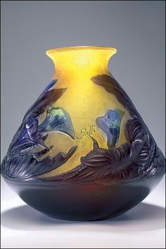 themagicfarawayttree:  Emilie Gallé Vase, circa 1920, in the Anderson Collection of Art Nouveau at UEA (Photo: Pete Huggins, Camera Techniques)