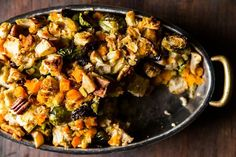 Butternut squash, brussels sprout, and apple stuffing