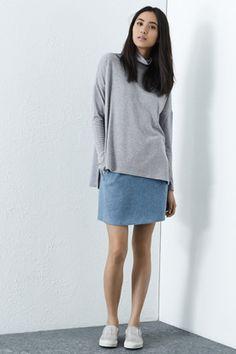 Grey marl polo neck jumper
