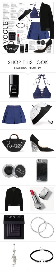 """""""#DarkSummer"""" by samella-walters ❤ liked on Polyvore featuring Chanel, Jonathan Simkhai, 3.1 Phillip Lim, Hunter, Eugenia Kim, Paul Andrew, Stila, LMNT, T By Alexander Wang and Burberry"""